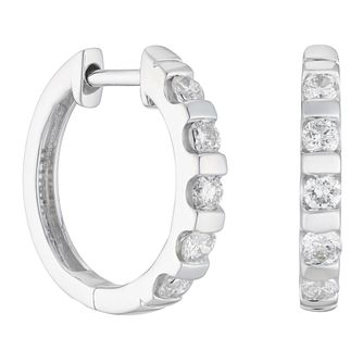 9ct White Gold 0.50ct Diamond Hoop Earrings - Product number 1281704
