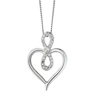 9ct White Gold 0.10ct Diamond Infinity Heart Pendant - Product number 1281747