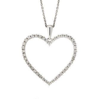 9ct White Gold 0.50ct Diamond Heart Pendant - Product number 1281763