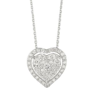 9ct White Gold 0.50ct Diamond Heart Pendant - Product number 1281771