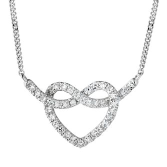 9ct White Gold 0.20ct Diamond Infinity Heart Necklace - Product number 1281798