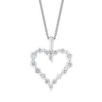 9ct White Gold 0.25ct Diamond Heart Pendant - Product number 1281933