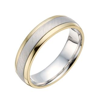 Sterling Silver & 9ct Yellow Gold Matt Ring - Product number 1282409