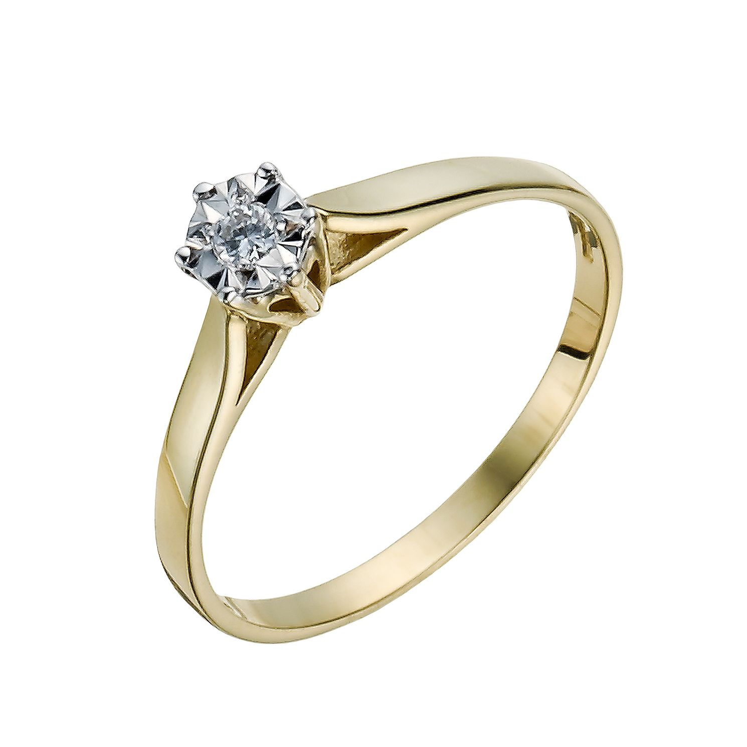 9ct Gold Diamond 6 Claw Illusion Solitaire Ring - Product number 1284517