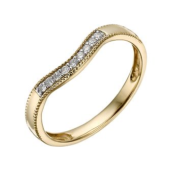 9ct Yellow Gold Diamond Shaped Milgrain Ring - Product number 1290304