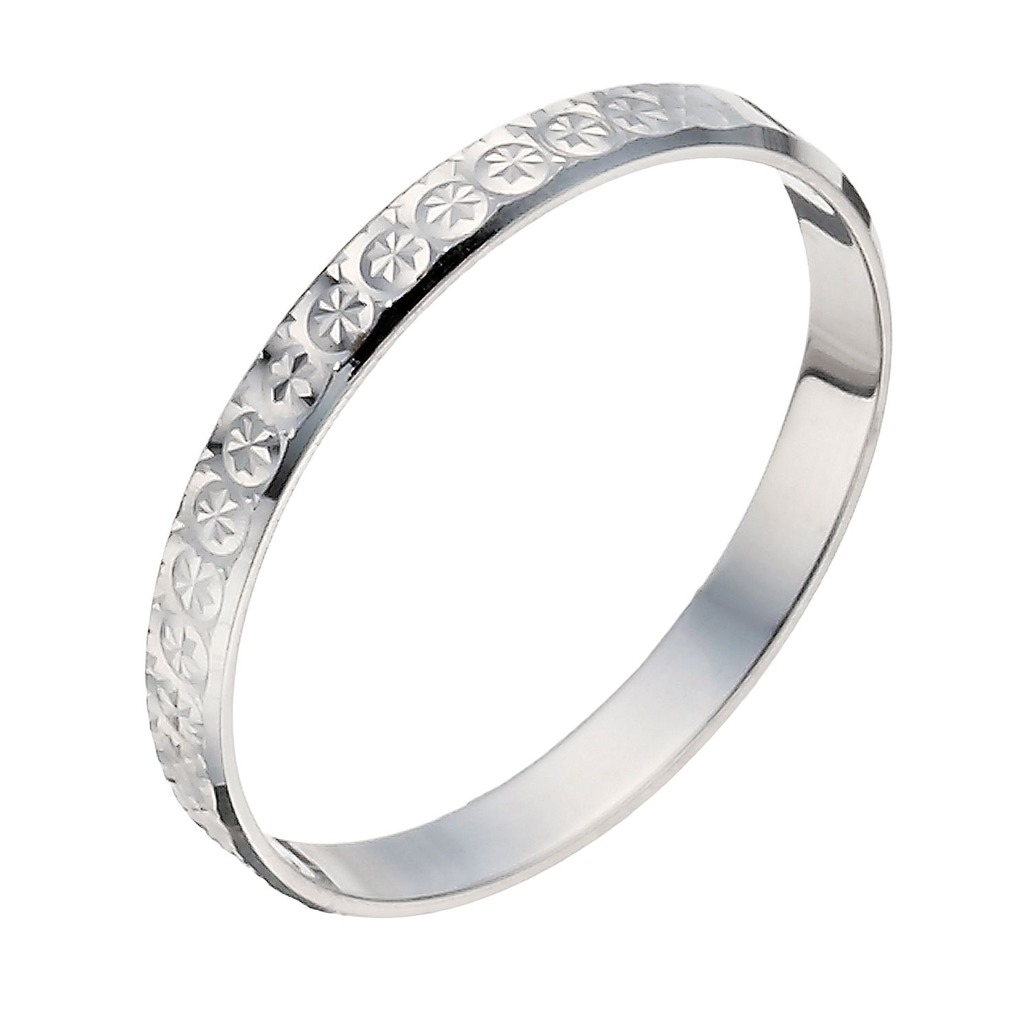 9ct White Gold 2mm Diamond Cut Ring - Product number 1290835