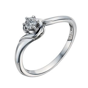 9ct White Gold 1/6 Carat Diamond Solitaire Ring - Product number 1292560