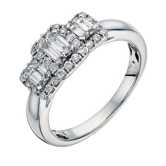 9ct White Gold Diamond Baguette Cluster Ring - Product number 1295128