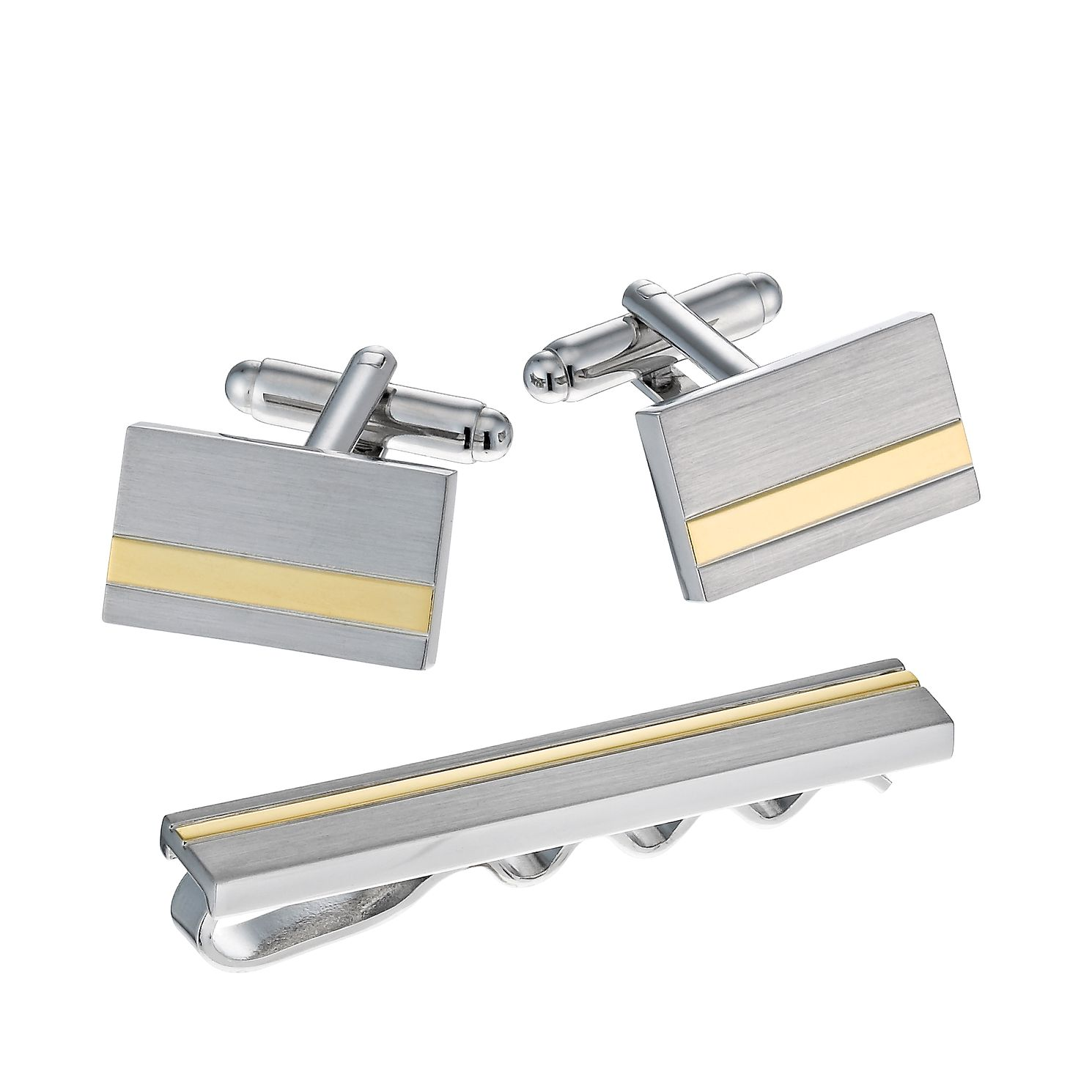 Gold-Plated Striped Tie Bar & Rectangular Cufflinks - Product number 1314327