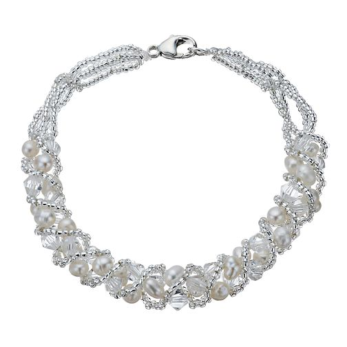 Sterling Silver Cultured Freshwater Pearl & Crystal Bracelet - Product number 1316524