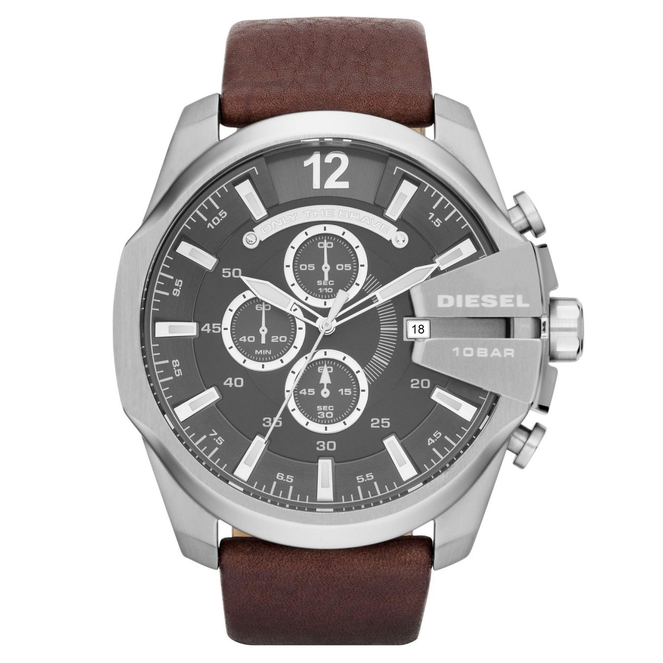 Diesel Mega Chief Men's Brown Leather Strap Watch - Product number 1318659
