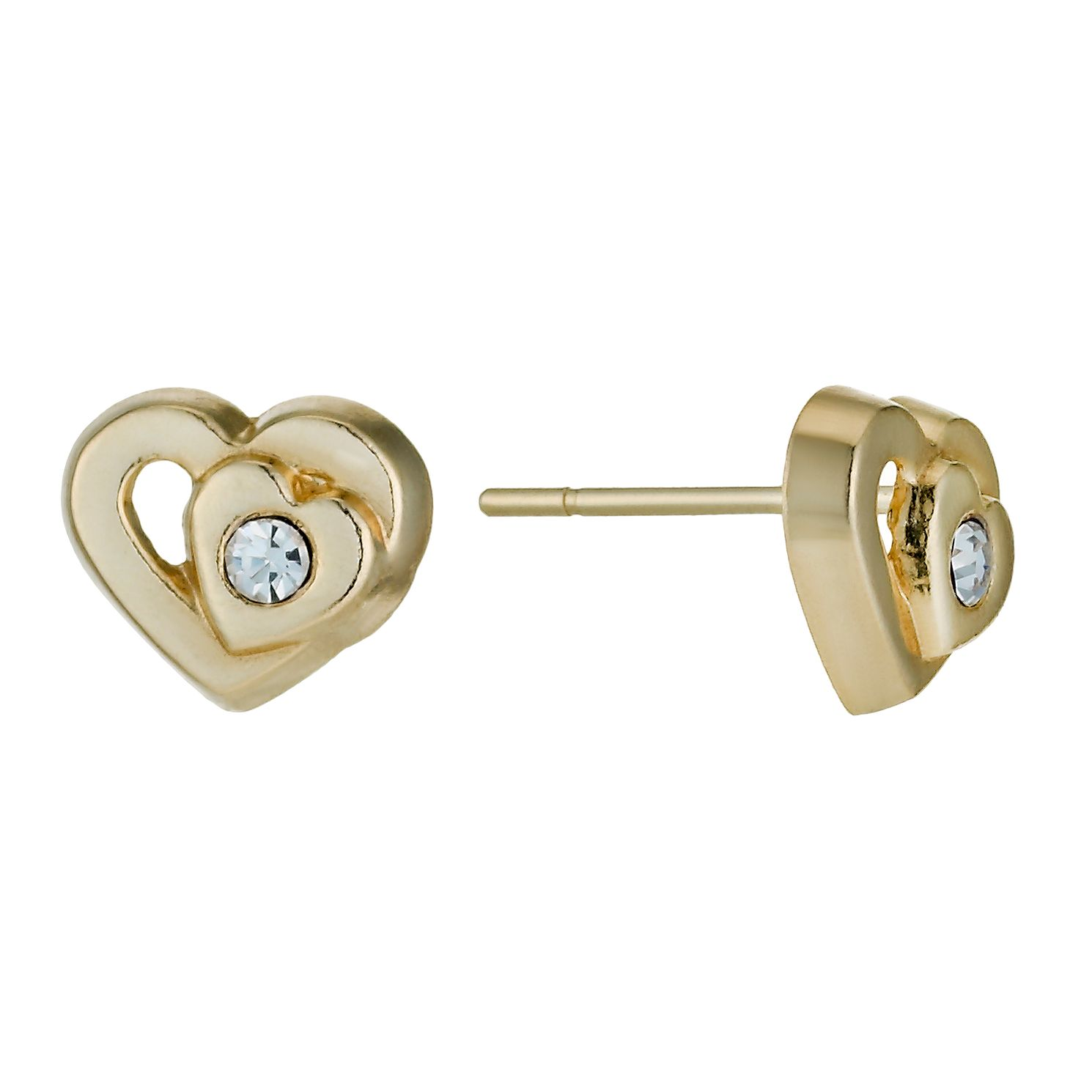 9ct Yellow Gold Double Heart Crystal Stud Earrings - Product number 1322230