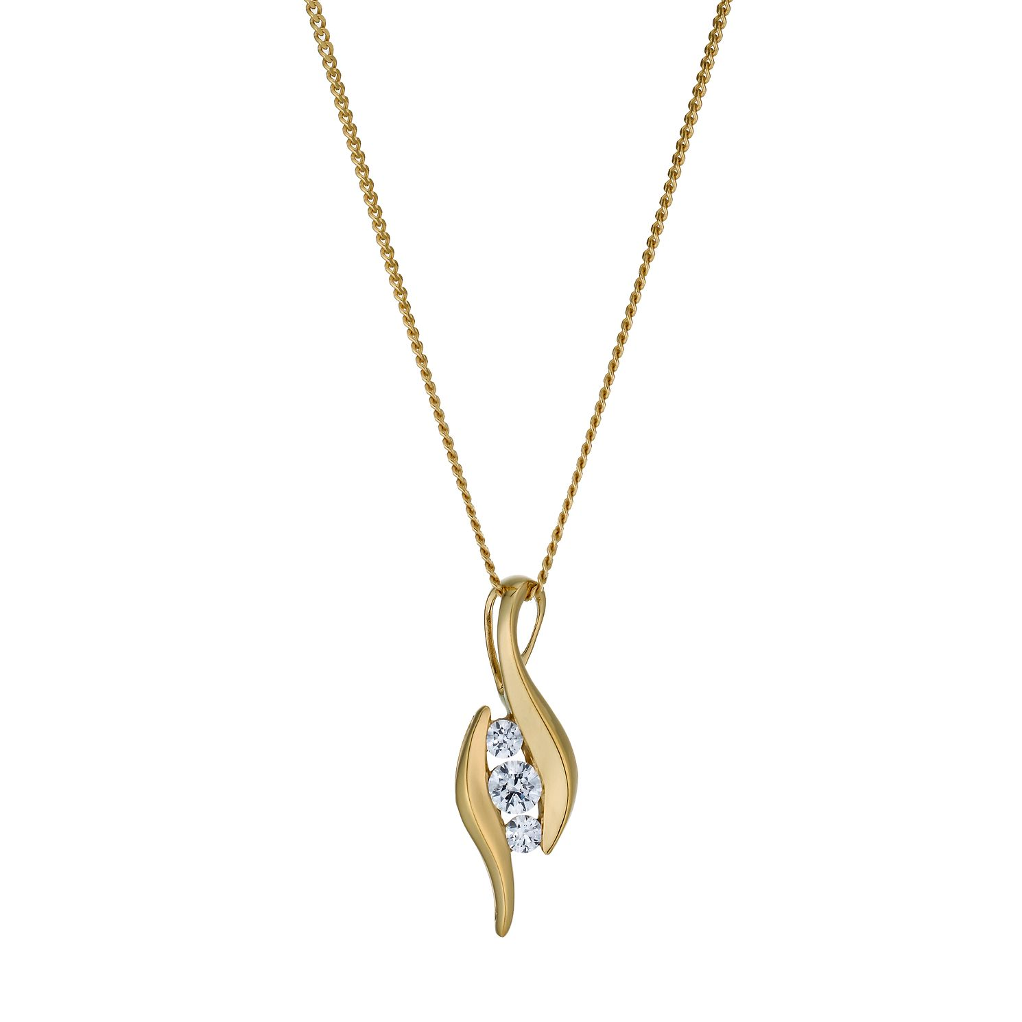 Lumiere 18ct Yellow Gold-Plated Swarovski Zirconia Pendant - Product number 1324144