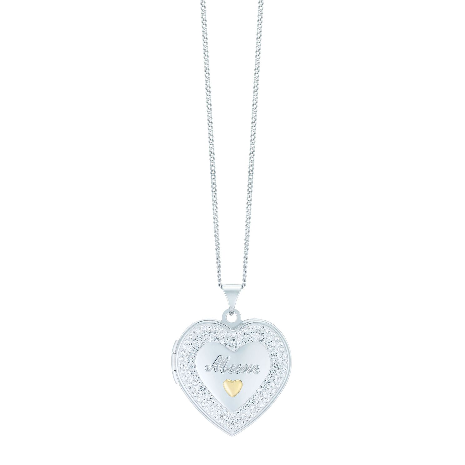 Silver & 9ct Yellow Gold 18 inches Crystal Mum Locket - Product number 1324942
