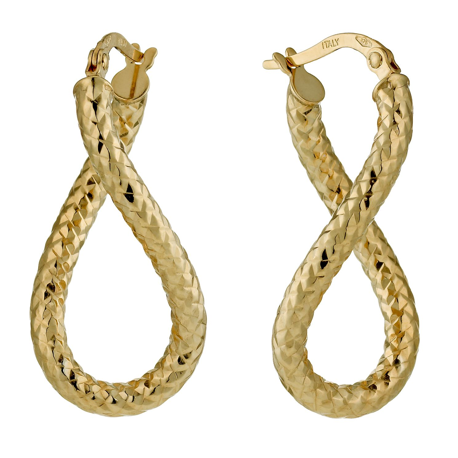 9ct Yellow Gold Oval Twisted Hoop Earrings - Product number 1325965