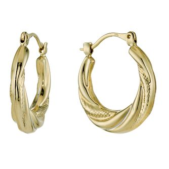 9ct Yellow Gold Ribbed 12mm Hoop Earrings - Product number 1325981