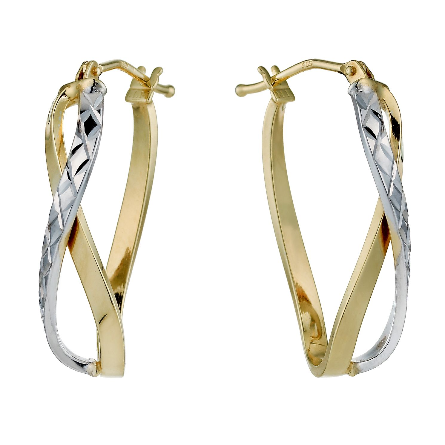 9ct Two Colour Small Twist Diamond Cut Creole Hoop Earrings - Product number 1326163