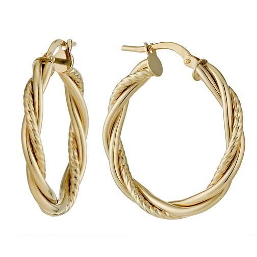 9ct Yellow Gold 20mm Fancy Twist Creole Hoop Earrings - Product number 1326171