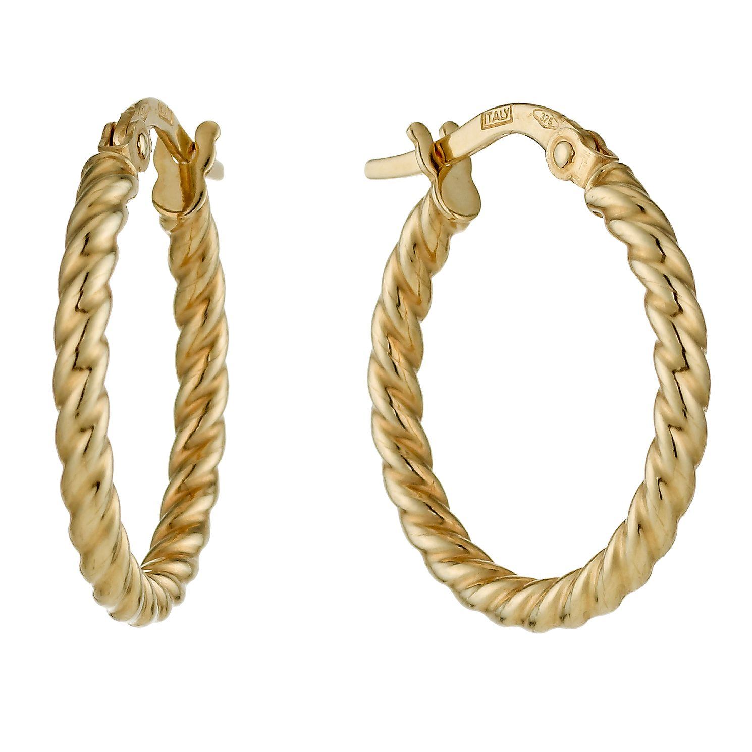 9ct Yellow Gold Twisted 15mm Hoop Earrings - Product number 1326198
