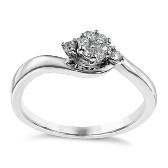 Sterling Silver 0.15ct Total Diamond Cluster Ring - Product number 1327283