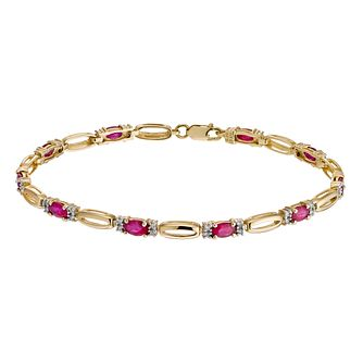 9ct Yellow Gold Ruby & 0.20ct Diamond Bracelet - Product number 1331892