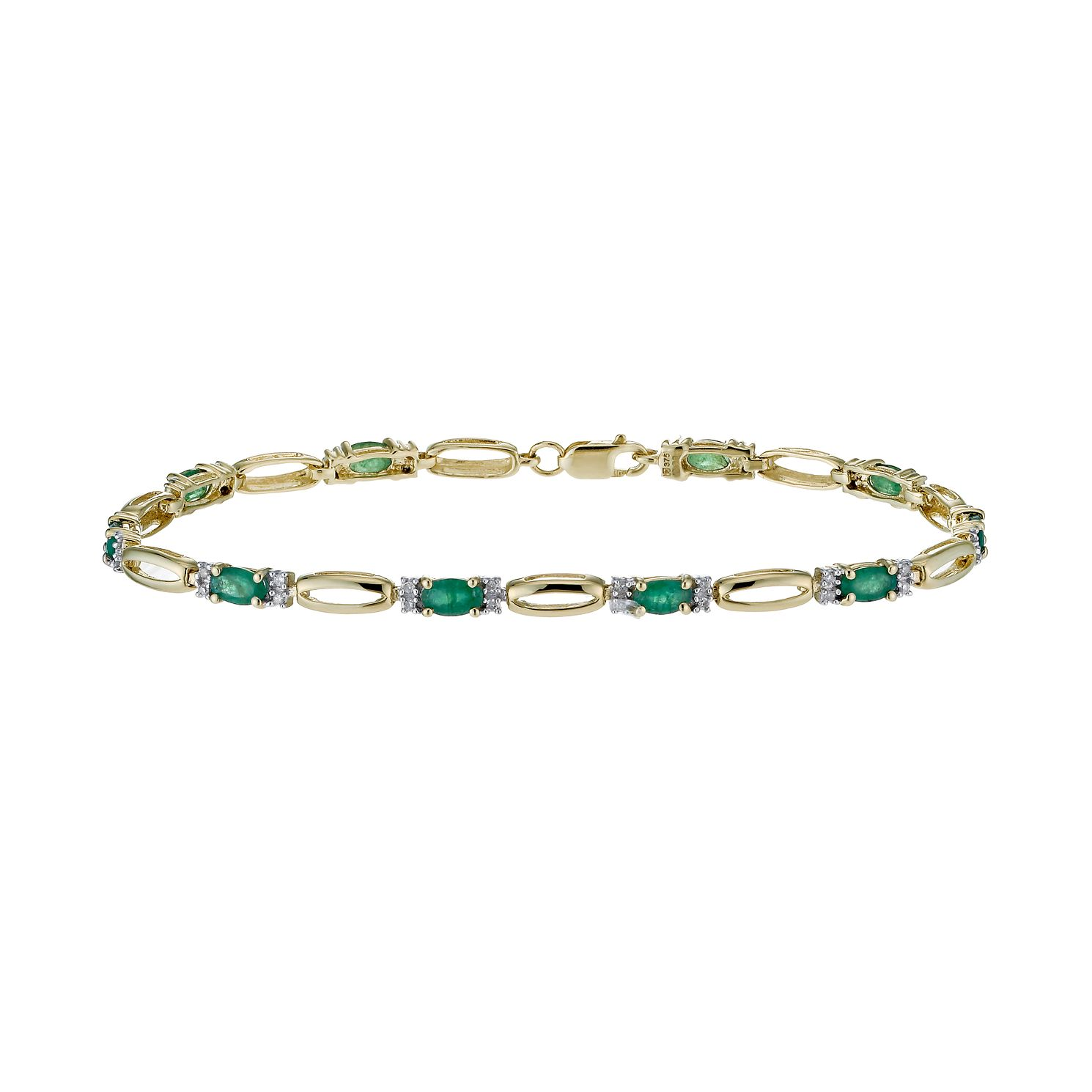 9ct Yellow Gold Emerald & 0.20ct Diamond Bracelet - Product number 1331906