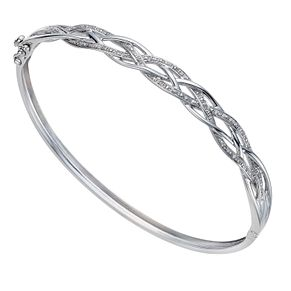 Sterling silver 10 point diamond lattice bangle - Product number 1331922