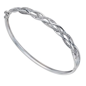 Sterling Silver 0.10ct Diamond Lattice Bangle - Product number 1331922