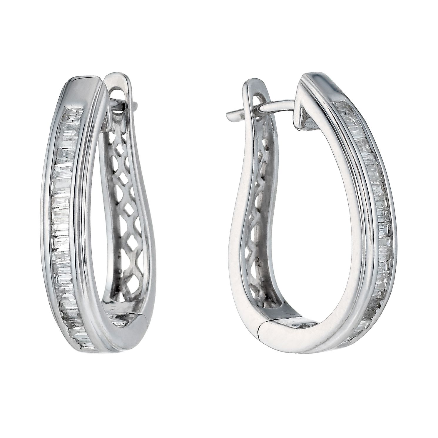 9ct White Gold 0.33ct Baguette Cut Diamond Hoop Earrings - Product number 1332120