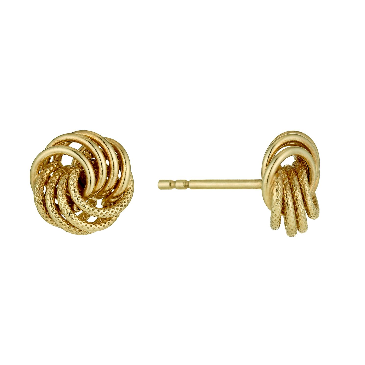 9ct Yellow Gold Knot Stud Earrings 7mm - Product number 1342754