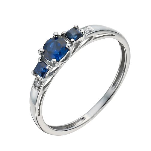 9ct white gold and created sapphire round and square ring. - Product number 1343874