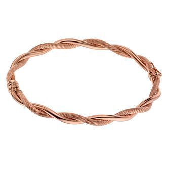 9ct Rose Gold Polished & Textured Twist Bangle - Product number 1344617