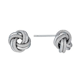 9ct white gold knot stud earrings - Product number 1345192
