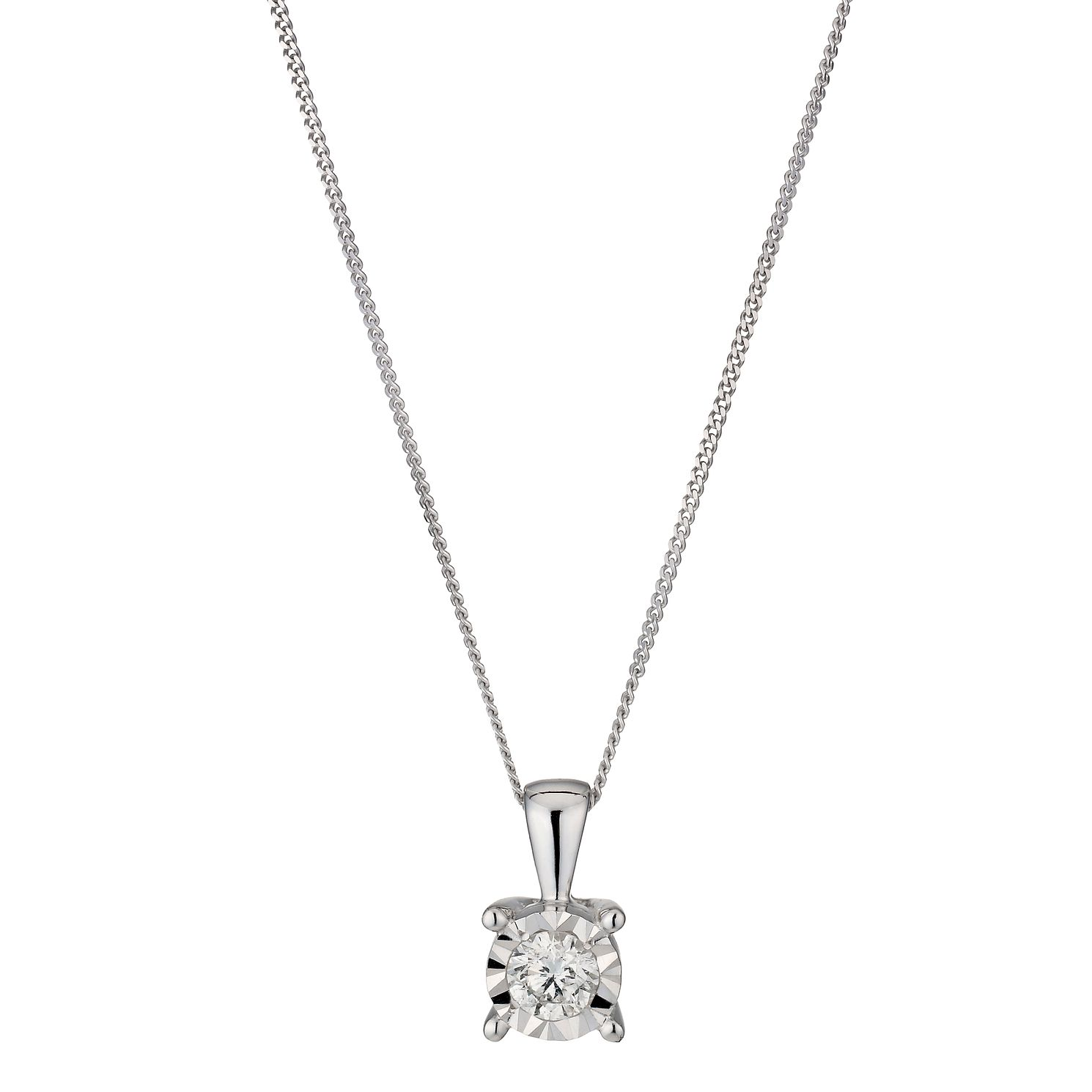 9ct White Gold 0.25ct Diamond Solitaire Pendant - Product number 1353608