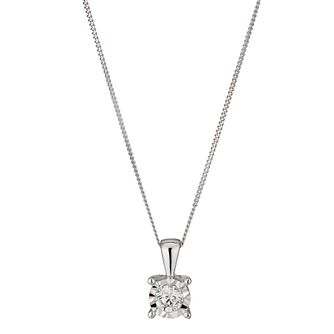 9ct White Gold 1/4ct Diamond Solitaire Pendant - Product number 1353608