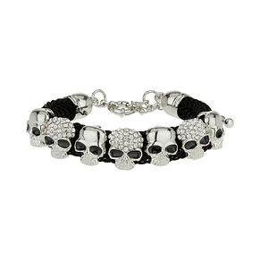 Mikey Ladies' White Crystal & Fabric Skull Bracelet - Product number 1354973