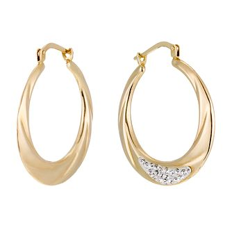 Together Bonded Silver & 9ct Gold Crystal Creole Earrings - Product number 1357530