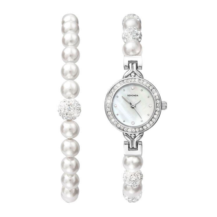 Sekonda Editions Crystal & Pearl Bracelet & Bracelet Watch