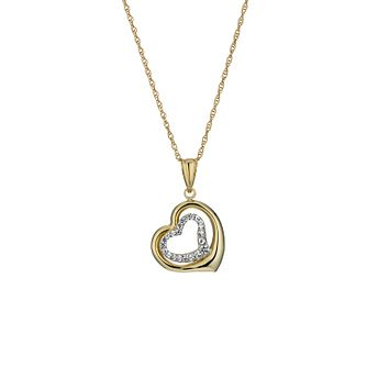 "Together Silver & 9ct Bonded Gold 18"" Double Heart Pendant - Product number 1359231"