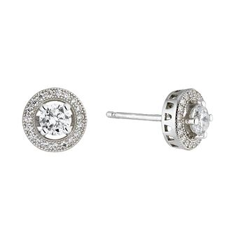 Sterling Silver Cubic Zirconia Halo Earrings - Product number 1362569