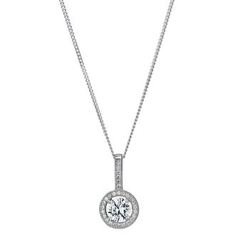 Sterling Silver Cubic Zirconia Halo Pendant - Product number 1362585