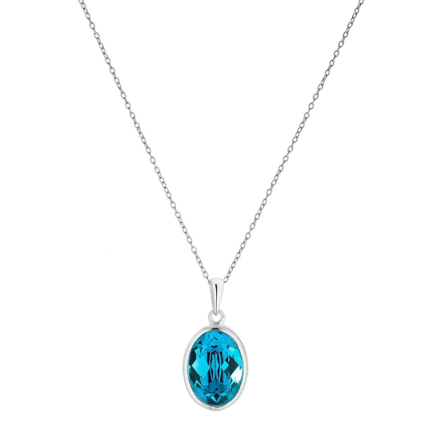 Sterling Silver Teal Crystal Pendant - Product number 1363050