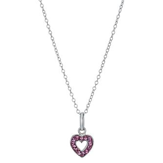 "Sterling Silver Children's Pink Crystal Heart Pendant 14"" - Product number 1363514"