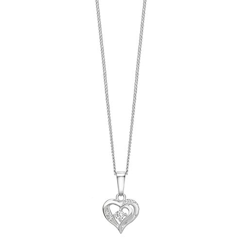 Sterling Silver Cubic Zirconia Small Heart Pendant - Product number 1364642
