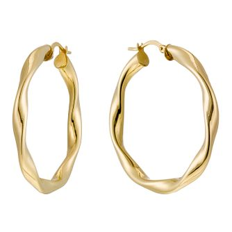 Together Silver & 9ct Bonded Gold Twisted 30mm Hoop Earrings - Product number 1368117
