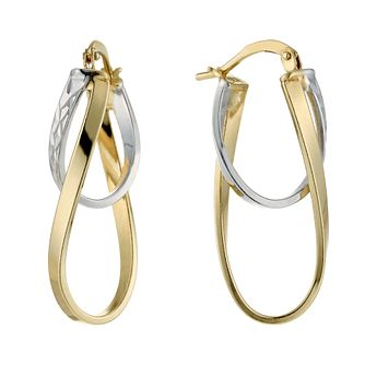 Together Silver & 9ct Bonded Gold Double Oval Hoop Earrings - Product number 1368141