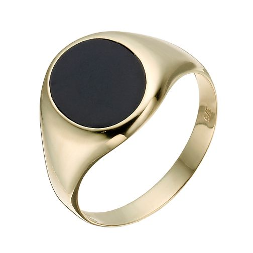 9ct yellow gold oval onyx ring - Product number 1373455