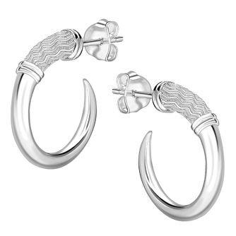 Rachel Galley Silver 925 Cherish Zigzag Spike Hoop Earrings - Product number 1376403