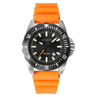 Accurist Diver Men's Orange Silicone Strap Watch - Product number 1376861