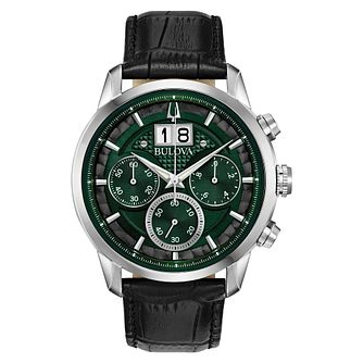 Bulova Sutton Men's Green Leather Strap Watch - Product number 1382292